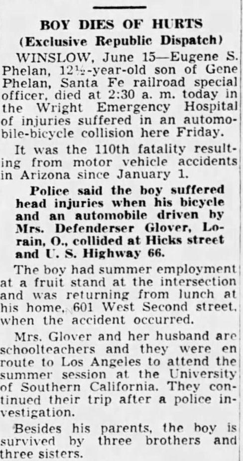 Arizona Republic, Gene Phelan Death 16 Jun 1941